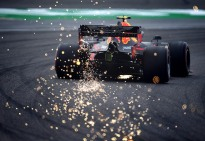 SHANGHAI, CHINA - APRIL 12: Sparks fly behind Pierre Gasly of France driving the (10) Aston Martin Red Bull Racing RB15 on track during practice for the F1 Grand Prix of China at Shanghai International Circuit on April 12, 2019 in Shanghai, China. (Photo by Clive Mason/Getty Images) // Getty Images / Red Bull Content Pool // AP-1YZSFD2GS2111 // Usage for editorial use only // Please go to www.redbullcontentpool.com for further information. //